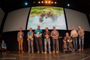 Trotse auteurs laatste praktijkboek wildlife fotografie, naast Daan v.l.n.r: Paul van Hoof, Arjen Drost, Marijn Heuts, Bob Luijks, Jan van der Greef, Jan Vermeer en Jeroen Stel