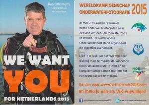 Oproep aan vrijwilligers - WK 2015 Zeeland. Ron Offermans als model op de poster...