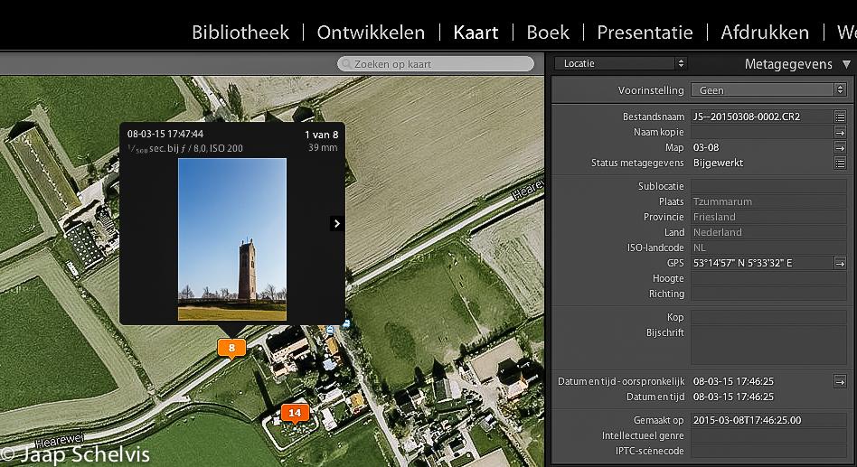 Met 'geocoding' sleep je eenvoudig geselecteerde foto's naar de precieze plek van de opname op een kaart. Lightroom voegt dan de GPS-coördinaten toe en vult zelfs in je metadata automatisch de namen van plaats, provincie en land in.