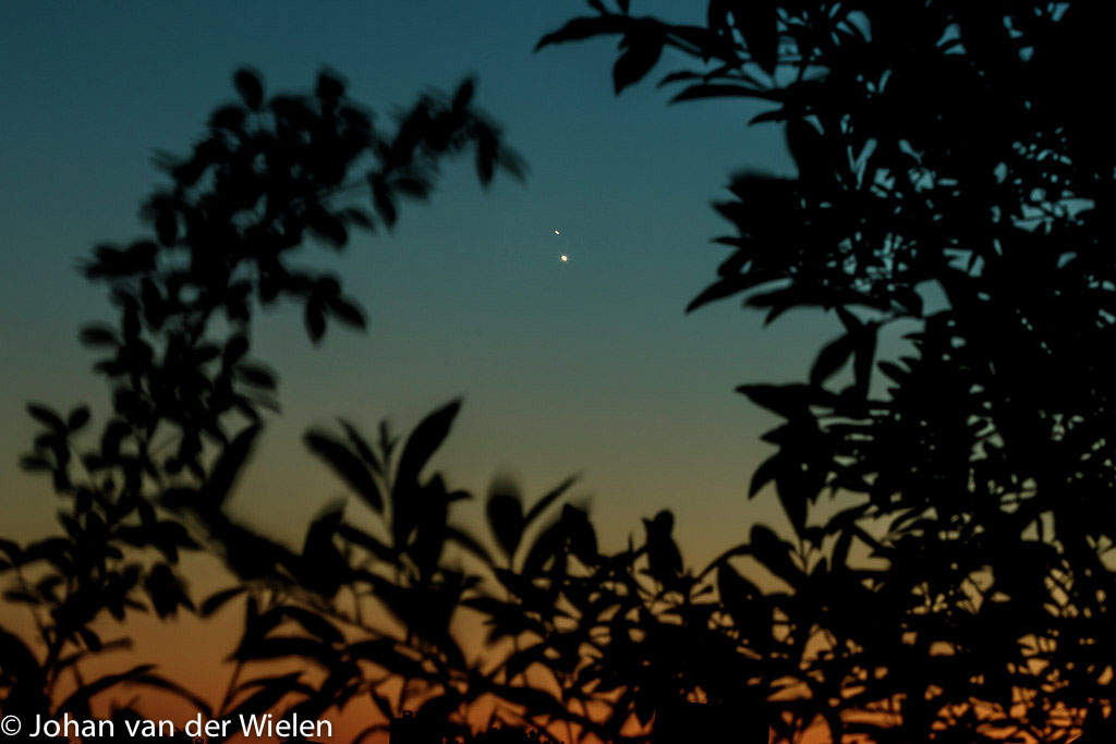Op 30 juni 2015 stonden de planeten Jupiter en Venus zeer dicht bij elkaar en waren vlak na zonsondergang goed waar te nemen. Hier is gebruik gemaakt van de laatste kleuren in de avondlucht en boombladeren als kadering in het beeld.