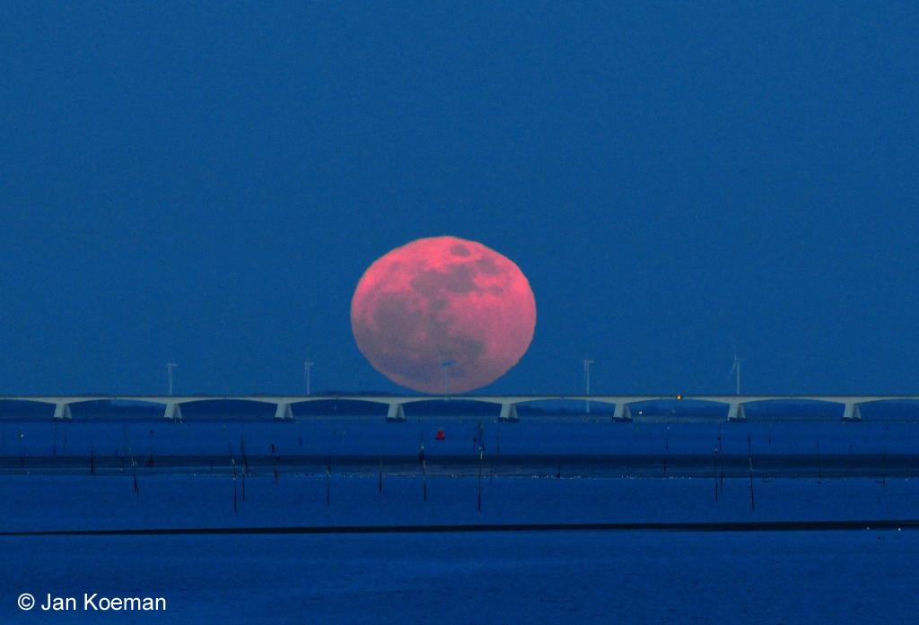 Maan in perigeum boven Zeelandbrug