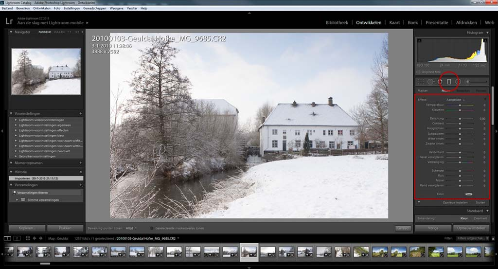 Het digitale verloopfilter in Lightroom.