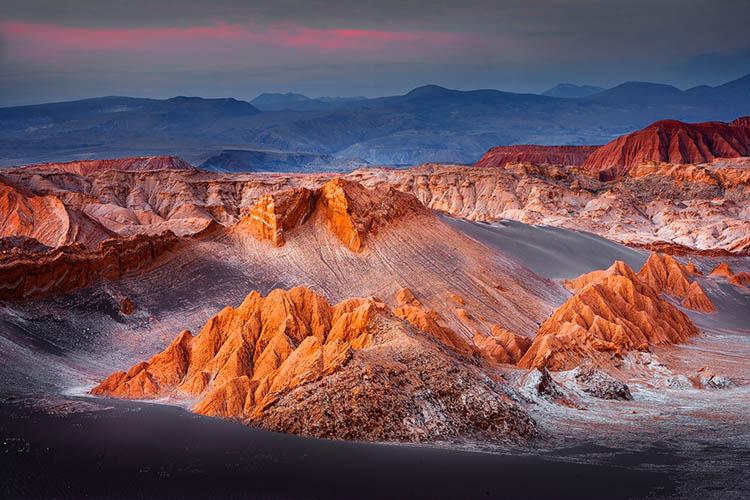 Zonsondergang over de Atacama woestijn in Noord Chili