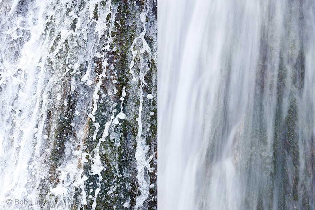 Variëren met sluitertijd. Met 1/8000 sec (links) zie je alle details in de waterval, terwijl met 1/6 sec (rechts) alles vervaagt.
