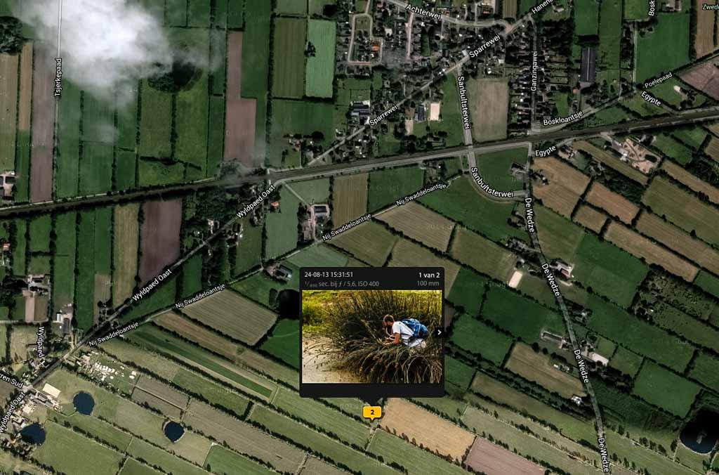Je kunt de Kaart module ook prima gebruiken om je voor te bereiden op (volgende) bezoeken aan een gebied; al die poeltjes in de verschillende weilanden in dit screenshot zijn in het veld best lastig te vinden.