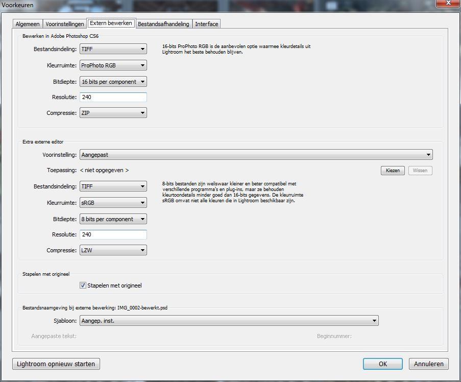 Via Voorkeuren kun je aangeven welke externe programma's je wilt gebruiken en hoe je de foto's wilt exporteren.