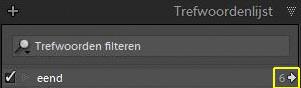 """Door op het pijltje in het gele vierkantje te klikken selecteer ik de bestanden die voldoen aan het trefwoord """"eend"""" en alleen die bestanden worden dan getoond."""