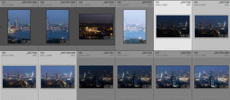 Selecteer in de rasterweergave van de module Bibliotheek 2 of meer foto's.