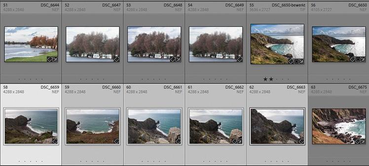 Geselecteerde foto's voor het panorama.