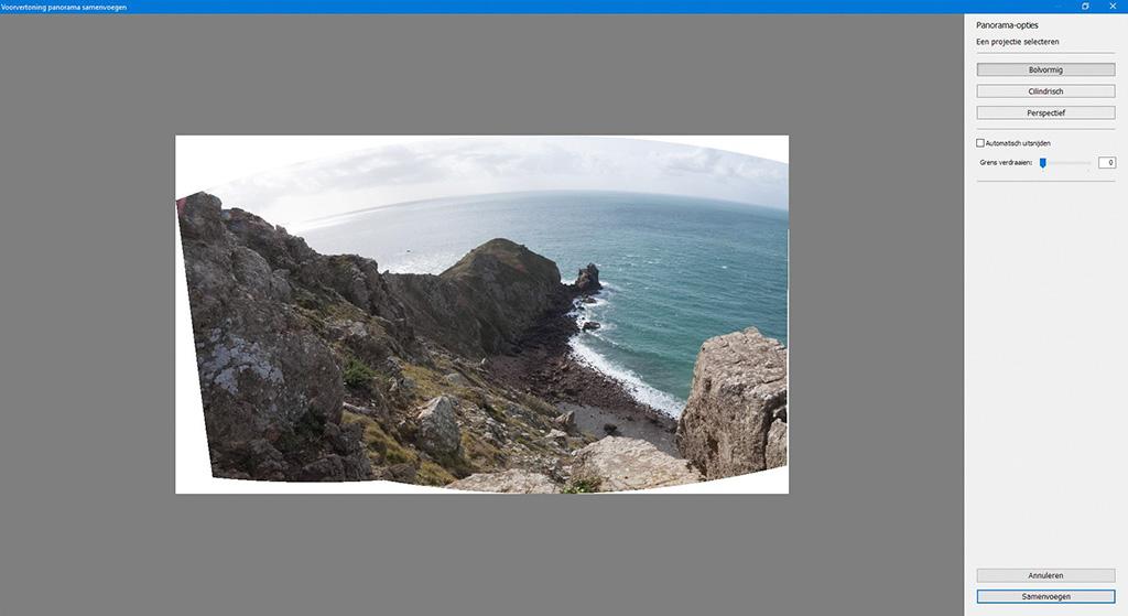 Voorvertoning panorama samenvoegen.