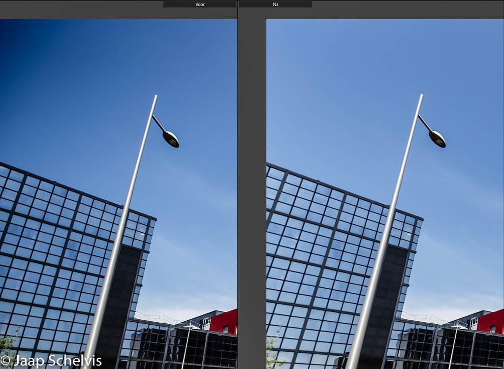 Toepassing van het lensprofiel in Lightroom corrigeert de vignetering moeiteloos. Persoonlijk vind ik een lichte vignetering bij groothoekopnames wel mooi en gelukkig kun je in Lightroom lensprofielen ook aanpassen en opslaan naar eigen voorkeur.