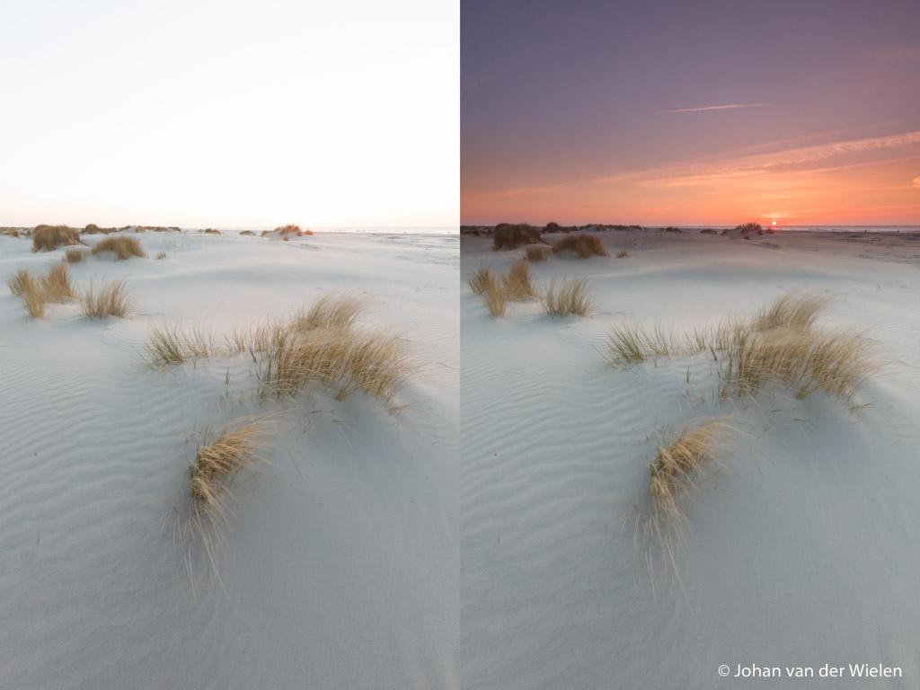 Links de belichting voor de voorgrond, rechts dezelfde foto maar nu met een 3 stops grijsverloop filter voor ook de belichting van de lucht