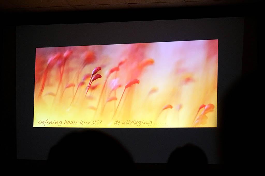 Beelschermfoto van presentatie Loes Belovics